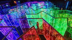 An immersive technicolour labyrinth has been installed in China, creating a geometric rainbow in the darkness: http://www.thinktank.org.uk/blog/2367-a-rainbow-labyrinth.php