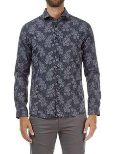 Floral Print Shirt, Floral Prints, Navy Fabric, Aw17, Slim, Shirt Dress, Blazer, Formal, Long Sleeve