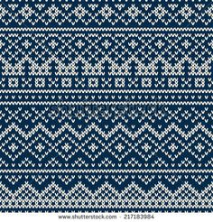 Nordic traditional Fair Isle style seamless pattern on the wool knitted texture - stock vector