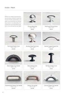 Handles knobsShaker Brochure | deVOL Kitchens and Interiors Shaker Kitchen Doors, Kitchen Cabinets Handles And Knobs, Shaker Style Kitchens, Cupboard Knobs, Kitchen Hardware, Kitchen Cabinetry, Sally's Kitchen, Kitchen Ideas, Dresser Knobs