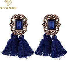 New Vintage Crystal Tassel Dangle Earrings Brincos Pendiente Earrings For Women Gift oorbellen Long Pendant Drop Earring XY-E184 #Affiliate