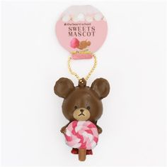 brown teddy bear pink white lollipop squishy cellphone charm 2