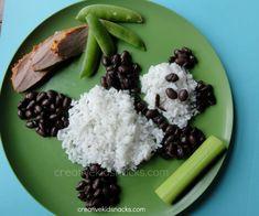 Fun Food Kids Panda Bear Dinner Abendessen poultry hähnchen geflügel reis rice dish bär tiere animals palme palm