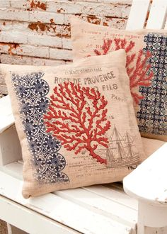 Give your nautical inspired room a boost with a Coral Coast Ship Pillow Cover! #bold #natural
