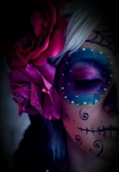 ~ Day of the Dead ~  Makeup ☆ purples ☆ blues ☆ raspberry pinks ☆