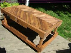 """A pallet table. Inspired by """"BeachBumLivin"""". This guy is pretty cool! I've been watching his YouTube videos!"""