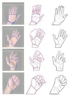 drawing hands step by step * drawing hands - drawing. Drawing Lessons, Drawing Techniques, Drawing Tips, Line Drawing, Drawing Poses, Hand Drawing Reference, Drawing Hands, Art Reference Poses, Anatomy Drawing
