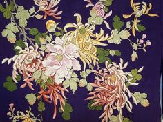 Antique Japanese Purple Silk Padded Satin Stitch Embroidery Chrysanthemum Kimono close-up view.