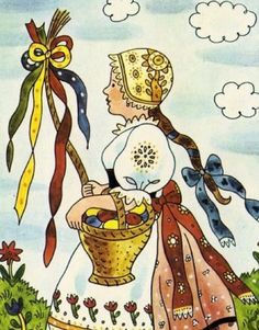 Today is the first of several Easter posts where we will focus on Czech Easter traditions and folk customs throughout all the lands of Bohemia, Moravia and Slovakia. Holy Saturday, Holy Thursday, Easter Illustration, Children's Book Illustration, Flower Shape, Flower Art, Contemporary Decorative Art, Easter Monday, Easter Traditions