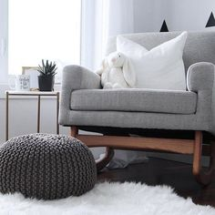 Shared By Stylish Enough For A Living Room Corner Or In Kids Soften Up Sleek Mid Century Style With Knitted Pouf And Shaggy
