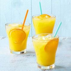 Give this upscale orange juice recipe a festive look by garnishing with fresh citrus slices and/or mango wedges. /