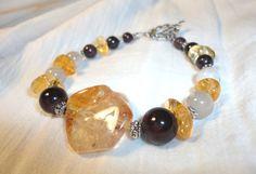 Citrine Bracelet  Garnet  Rainbow Moonstone  Genuine by Willowette, $38.00