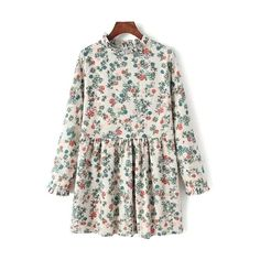 Tiny Floral Stand Neck Long Sleeve Dress featuring polyvore, fashion, clothing, dresses, long sleeve floral dress, long sleeve floral print dress, flower print dress, floral pattern dress and long sleeve dresses