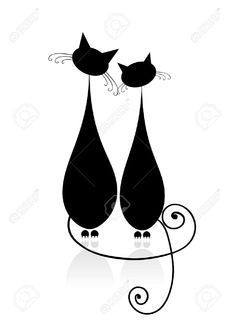 sitting cat line drawing - Google Search