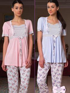 Bone 3819 Hamile Pijama Takım; Penye kumaştan üretilen hamile pijama takım modelidir. Maternity Nursing Dress, Peplum, Blouse, Pj, Dresses, Women, Fashion, Vestidos, Moda