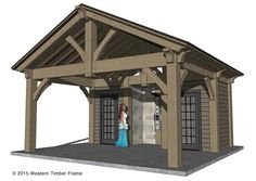 DIY timber frame pool side pool house.