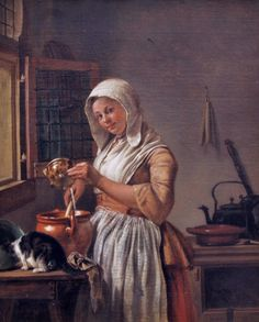 Wybrand Hendriks (Dutch painter, 1744-1831) Milkmaid 1800 18th Century Painting of Old Woman Over time, bedgowns (also called in this context shortgowns) became the staple upper garment of British and American female working-class street wear from the 18th to early 19th centuries.