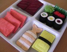 Hand sewn pretend play sushi bento box