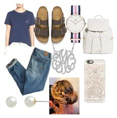 """Lazy Preppy"" by ranisatecj ❤ liked on Polyvore featuring Vineyard Vines, American Eagle Outfitters, Birkenstock, Carolee, Daniel Wellington, Vera Bradley and Casetify"