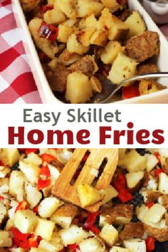 This skillet home fries recipe couldn't be simpler and is a great way to stretch the budget! These home fries are made with a couple leftover baked potatoes, making for a perfect diner-style breakfast at home! Easy Weekday Meals, Make Ahead Meals, Easy Dinners, Leftover Baked Potatoes, Home Fries, Friend Recipe, Money Saving Meals, 30 Minute Meals, Food Dishes
