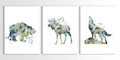 Decoration:Bear Art Moose Wolf Art Print North American Animals Woodland Animals Set of Three Limited Edition Watercolor Art Prints >>> Click image for more details.