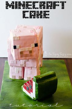 Minecraft Cake Tutorial | I'm Topsy Turvy - I love the step-by-step tutorial. I've always wondered how these amazing cakes are made.