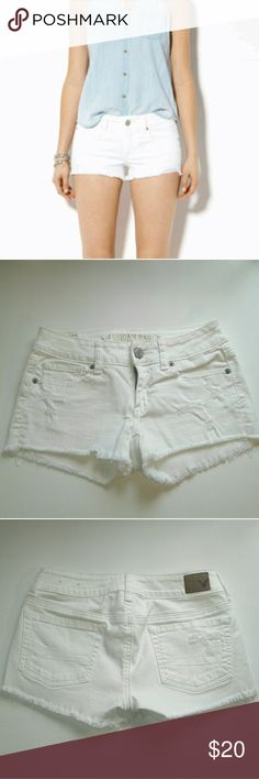 Distressed white shorts White American Eagle shorts with distressed legs Size 0 in EUC and flawless  Pet and smoke free home  A72 American Eagle Outfitters Shorts