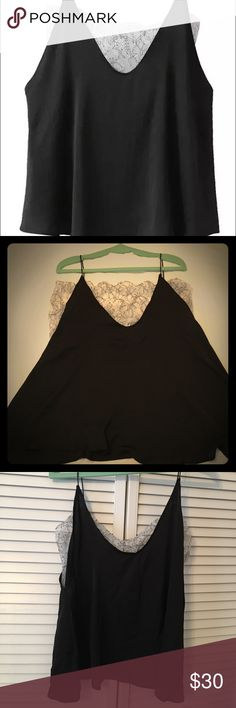 NEVER WORN: Sheer Lace Black Silky Tank/Cami Black silky cami with a lace sheer underlay. Material: polyester. Size L: Inner Bust 84 cm- 94cm/ Outer Bust 112 cm / Length 67 cm Goodnight Macaroon Tops