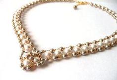 Swarovski Pearl & Gold Necklace Wedding Bridal Jewelry by MelJoyCreations