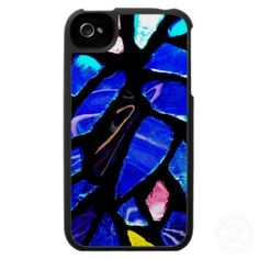 'BLUE GLASS' iPHONE CASE, by The Flying Pig Gallery on Zazzle (lizadeyphoto) - Bright blue stained glass creates the pattern for this brilliant iPhone case.  Available for iPhone 3 and 4.