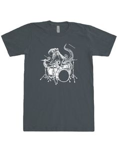 Mens Octopus Playing Drums T Shirt - American Apparel Fine Jersey Short Sleeve Unisex Tee - White Print - XS S M L XL