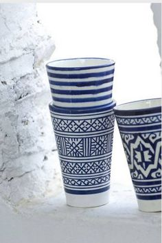 My favorite accent color for my kitchen. Love this particular blue (and the patterns).