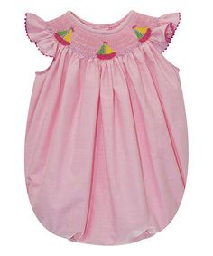 Blush Pink Sailing Angel-Sleeve Smocked Bubble Romper - Infant #zulily #zulilyfinds