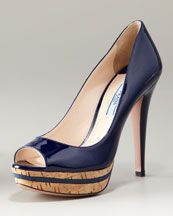 Prada  Cork Platform Patent Open-Toe Navy Pump  $750