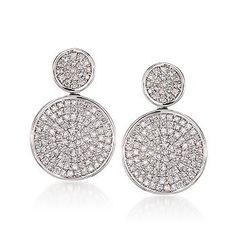 Ross-Simons - .83 ct. t.w. Pave Diamond Earrings In 14kt White Gold - #783224