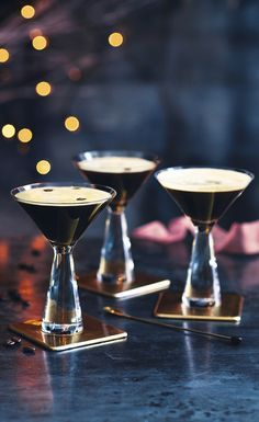 Impress guests with our simple recipe for Espresso Martinis – they're perfect for an after-dinner treat. Find more cocktail recipes on the Waitrose website. Cocktails And Canapes, Cocktail Desserts, Coffee Cocktails, Cocktail Drinks, Cocktail Recipes, Alcoholic Drinks, After Dinner Cocktails, Beverages, Lemonade Cocktail