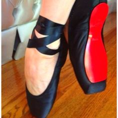 Dita Von Teese's custom Christian Louboutin pointe shoes.