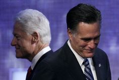 I sat next to the photographer who took this photo at CGI.     Republican presidential candidate Mitt Romney steps to the podium after an introduction by former President Bill Clinton at the Clinton Global Initiative in New York. (AP)