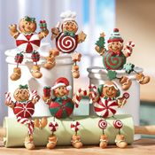6PC Gingerbread Candy Collectible Christmas Decor Sitters