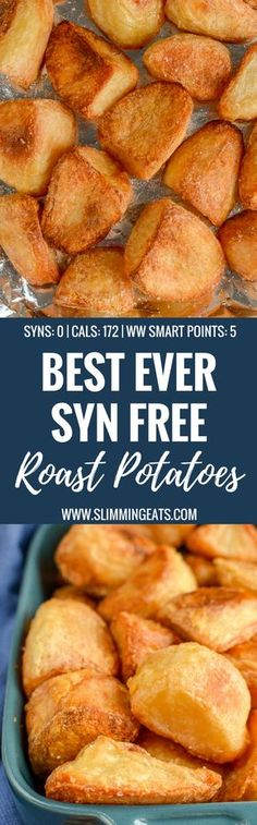 Slimming Eats Best Ever Syn Free Roast Potatoes - gluten free, dairy free, vegetarian, Slimming World or Weight Watchers friendly astuce recette minceur girl world world recipes world snacks Slimming World Soup Recipes, Slimming World Speed Food, Slimming World Desserts, Slimming World Dinners, Slimming Eats, Slimming Word, Syn Free Food, Fat Burning Foods, Dairy Free Recipes