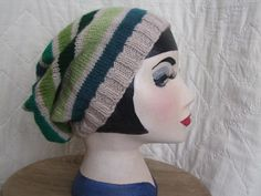 Boho fashion :Hand knitted unisex slouch beanie. Practical and stylish accessory. One of a kind design, hand made in Wales.£12.00,available from www.liliwenfachknits.co.uk