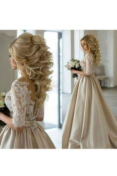 2017 Wedding Dresses Lace and Satin Wedding Dress Champagne Wedding Dresses Wedding dresses A-line Elegant Wedding Gown Wedding Dresses - No Interest Credit Cards - Ideas of No Interest Credit Cards - Prom Dresses With Sleeves, Bridal Dresses, Wedding Gowns, Dress Prom, 2017 Wedding, Trendy Wedding, Long Dresses, Long Gowns, Wedding Venues