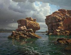 Based in Western Australia, Andrew Tischler states on his website that, like many sea and landscape painters, he finds the refer. Fantasy Paintings, Seascape Paintings, Oil Paintings, Landscape Art, Landscape Paintings, Nautical Painting, Environment Concept, Australian Artists, Painting & Drawing