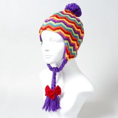 Turn heads this winter with a bright stripe Chevron Trapper Hat