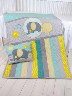 Manta del bebé Teal gris cuna edredón ropa de cama para