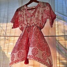 Johnny Was Silk Top Adorable kimono sleeve top with draw string at waist. 100% silk ...no trades no pay pal Johnny Was Tops
