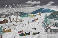 View November By Grandma Moses; oil and glitter on board; Access more artwork lots and estimated & realized auction prices on MutualArt. Grandma Moses, American Artists, Art History, Folk Art, Auction, Creatures, Artwork, Painting, Outdoor