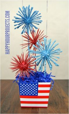 Spend A Fun And Safe Of July With These 18 DIY Firecracker Alternatives – of July – Grandcrafter – DIY Christmas Ideas ♥ Homes Decoration Ideas Fourth Of July Decor, 4th Of July Celebration, 4th Of July Decorations, 4th Of July Party, July 4th, Birthday Decorations, Graduation Centerpiece, Patriotic Crafts, July Crafts