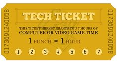 Free Printable Chore & Tech Time Punch Card Tickets- great for summer!