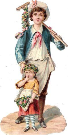 Oblaten Glanzbild scrap die cut chromo Kind child  XL  20,7 cm  Vater father